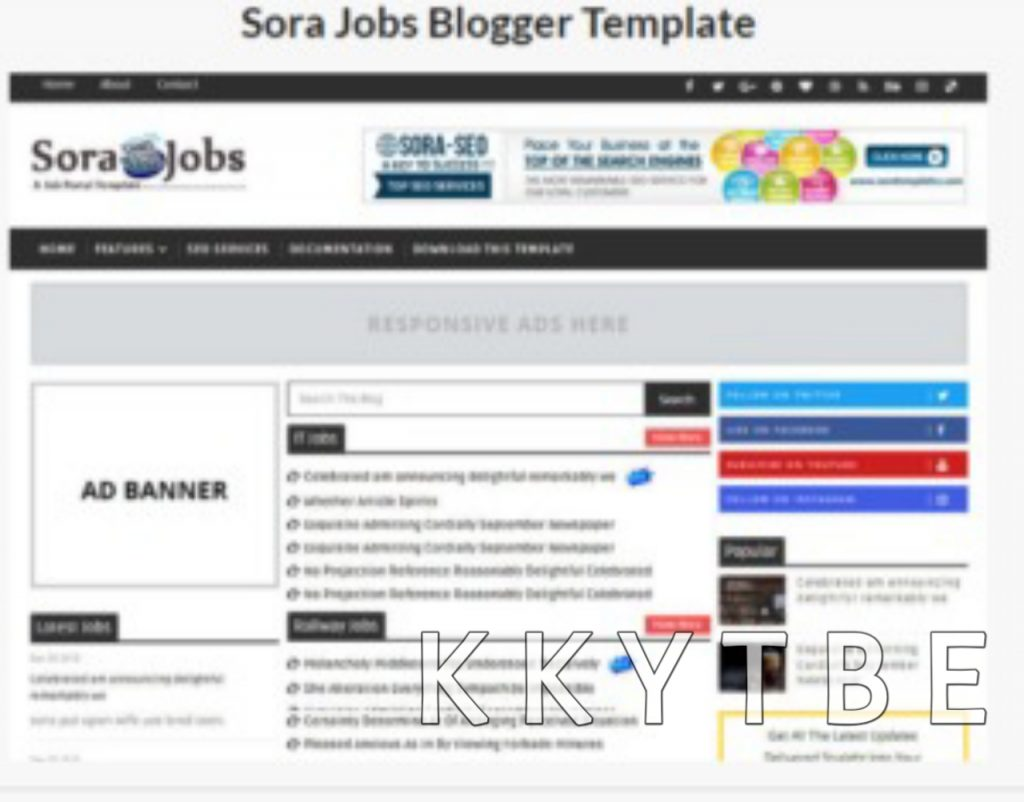 1, Sora job is an Awesome and elegant style Blogspot theme. It is a color black and sleek design theme. It is a modern minimalist, personal and well-decorated theme. It is a perfect choice for job, bloggers, school result out portal, admit republic portal, writers, online form filup portal , Book selling portal and designers. It is fully responsive which giver the perfect screen resolution on all mini devices. It is very flexible, clean and flat design theme. Its layout is neat having tremendous widgets. The post format looked modern post thumbnails. It is purely SEO friendly designed well coded. You don't need to dirty your hands with coding. It has a powerful admin panel and provides unlimited options to customize it in an easy way. It is fast loading which takes seconds to open in any browser.